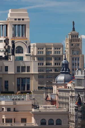 Madrid  Spain  Historic Buildings in the center of the city,  Calle Gran Via photo