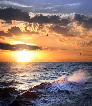 Stormy sea with sundown, clouds and birds  beautiful weather