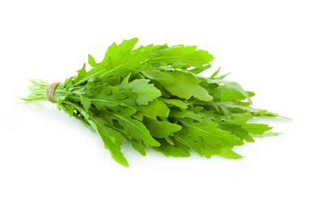 Bunch of fresh Ruccola  leaves   rocket salad    isolated on white background Stock Photo