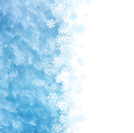 icy: Blue Winter icy macro background with snowflakes ornament  - copy space for your text