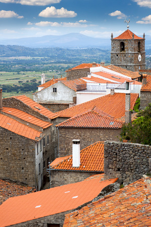Roof view of European small town    Monsanto   Portugal   Enjoy travel photo