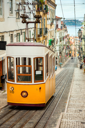 electric tram: Yellow Historic Lisbon Editorial