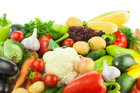 Different Vegetables   Big Assortment of Food   on white background with copy space photo