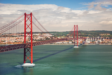 salazar: 25th of April Suspension Bridge over the Tagus river in Lisbon, Portugal, Eutope