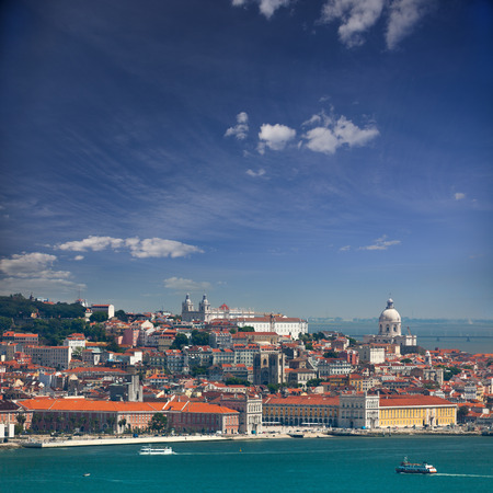 lisbon: Panorama of Alfama and Graca, cityscape of Lisbon, Portugal, Europe Stock Photo