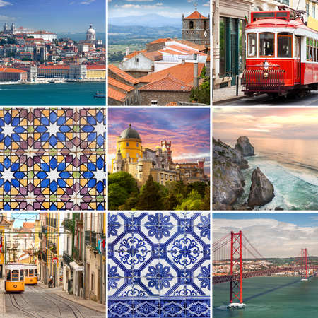 Portugese travel collage - The most famous places in  Portugal, Europe - Lisbon, Sintra, Monsanto and other
