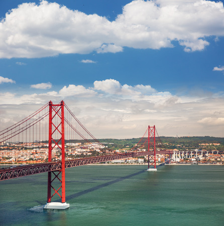 25th of April Suspension Bridge over the Tagus river in Lisbon, Portugal, Eutopean travel photo
