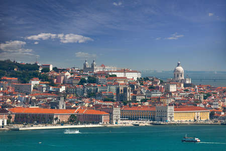 Panorama of Alfama and Graca, cityscape of Lisbon, Portugal, Europe Stock Photo