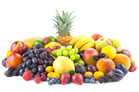 Different  organic Fruits isolated on white background with copy space fot text photo