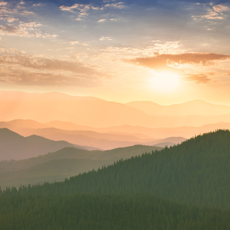 forest wood: Colorful Sunset in the Mountains, hills, sun and sky - Ukraine, Europe Stock Photo