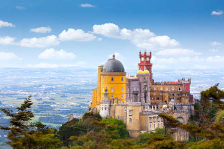 Aerial view of  Pal?cio da Pena - Sintra, Lisboa,  Portugal - European travel,  Horizontal Editorial