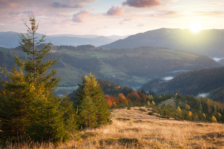 Beautiful Autumn in Mountains at sunset time. Colorful trees,  peaks, clouds and sun photo