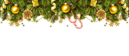 xmas background: Christmas Border - tree branches with golden baubles, stars, snowflakes isolated on white,  horizontal banner