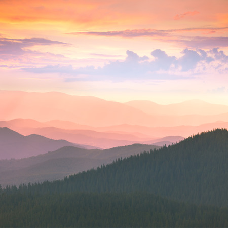 morning light: Beautiful Mountains -  sunset time. Hight peaks, clouds and colorful sunset. Carpathians, Ukraine