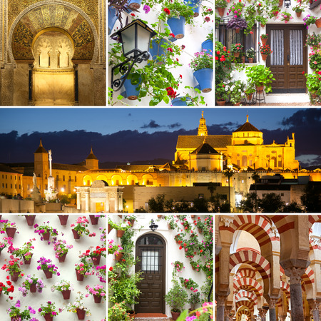 spanish culture: Set of Famous Landmarks and Decorated Houses Exteriors, Cordoba, Spain, Europe
