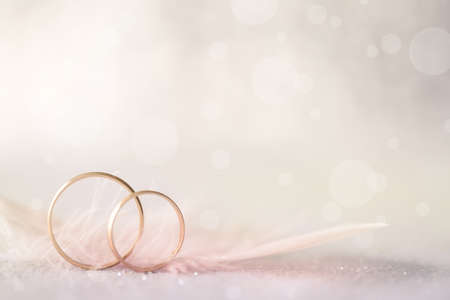 marriages: Two Golden Wedding Rings and  Feather - light soft background for marriage Stock Photo