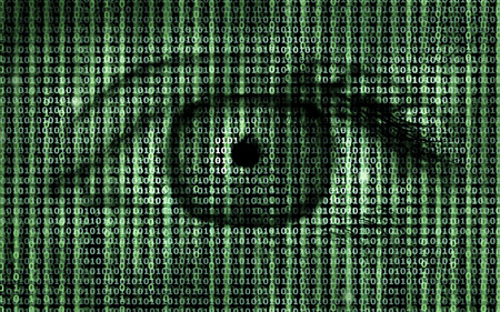 Matrix Binary Program Code with Human Eye -  Concept Background photo