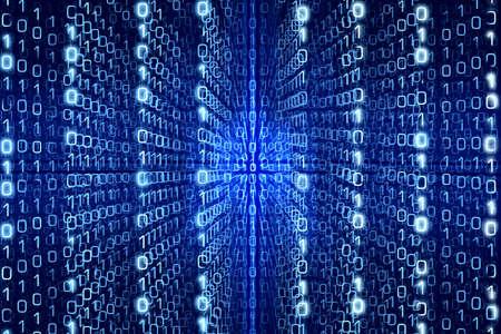 Mavi Matrix Özet - sıfırları ve Ones - Dijital arka plan