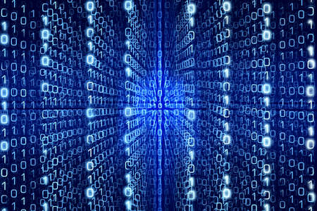 digitální: Modrá Matrix abstrakce - nul a jedniček - Digitální pozadí