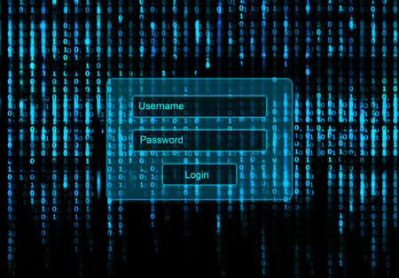 binary matrix: Conceptual Screen Matrix background with login window Stock Photo