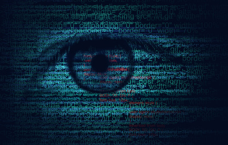 program code: Web Program Code with Human Eye -  Blue concept Background
