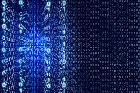 matrix code: Blue Matrix Abstract - Zeros and Ones - binary code Digital background