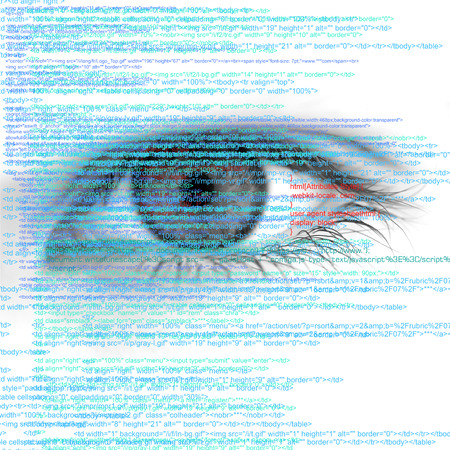 Web Computer Code with Human Eye Abstract Background - big size photo