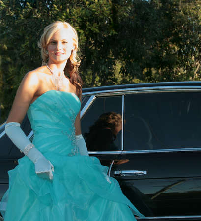 Beautiful teenage girl dressed for high school graduation Stock Photo
