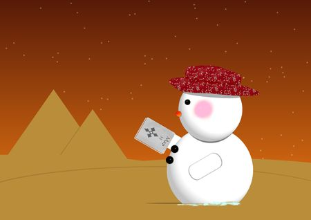 A snowman gets lost in the desert and is looking at his map upside down. photo