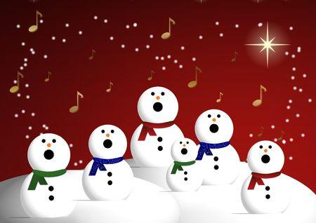carols: A chorus of snowmen singing carols against a starry night sky.