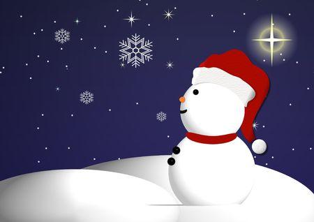 Un mu�eco de nieve mira fijamente en maravilla en un hermoso cielo estrellado con copos de nieve cayendo suavemente.  Foto de archivo - 7257830