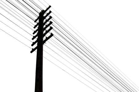 telegraaf: Silhouet van telegraaf stokken en draden