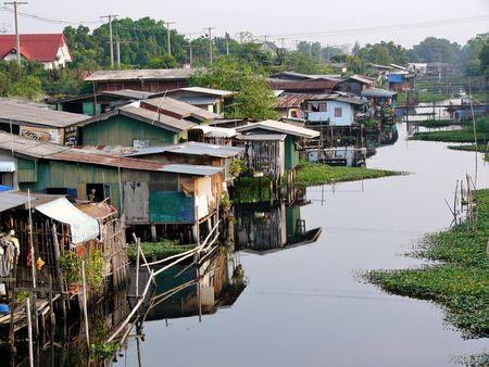 shanty: Canalside slum in Bangkok