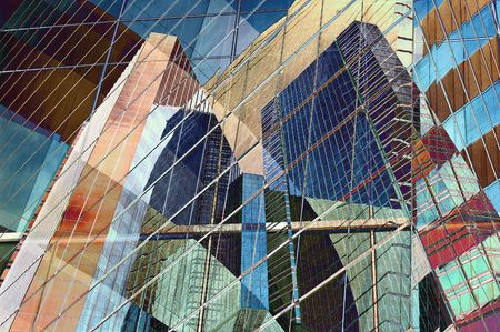 towerblock: Abstract design of colorful modern city Stock Photo