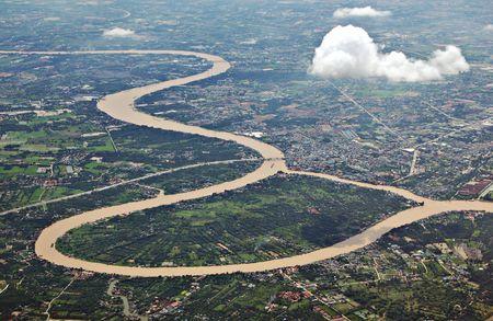 phraya: Vista a�rea de Ko Kret en el r�o Chao Phraya en Bangkok  Foto de archivo