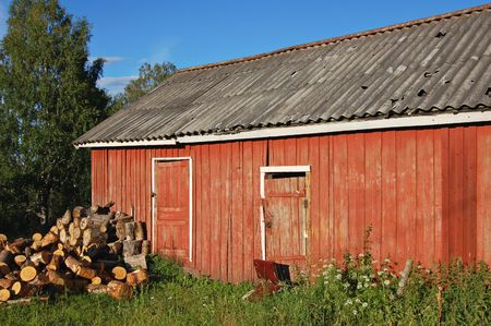 woodshed: Woodshed in rural Russia Stock Photo