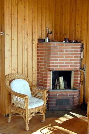 sunroom: Fireplace in a Finnish cottage Stock Photo
