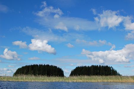 double reed: Islands on a Finnish lake