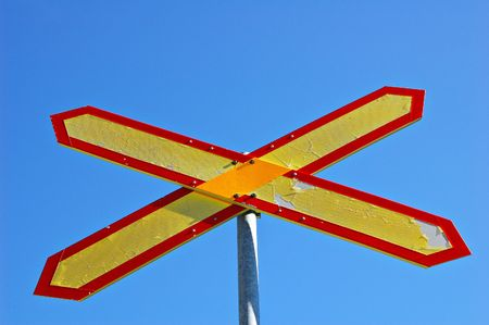 Level crossing sign in Finland Stock Photo - 528439