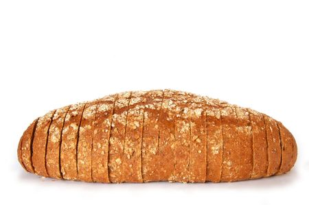 roughage: Complete wholewheat brown loaf sliced with clipping path