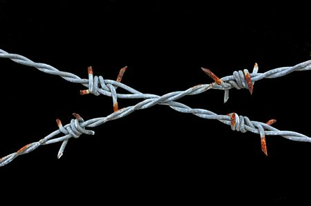 keepout: Two strands of rusty barbed wire crossed