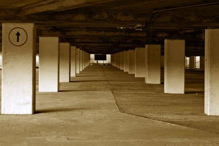 carpark: An empty and bare underground carparking lot