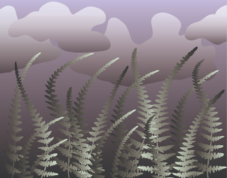 blustery: Vector illustration of fern leaves blowing in the wind Illustration
