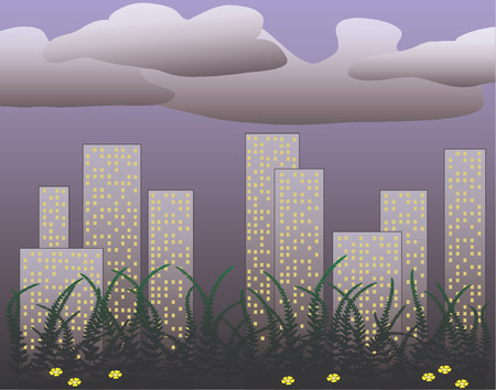 towerblock: Vector design of city skyline at dusk