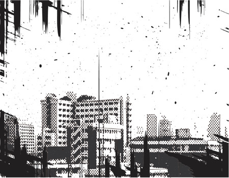 towerblock: Vector halftone illustration of a city with grunge on a separate layer