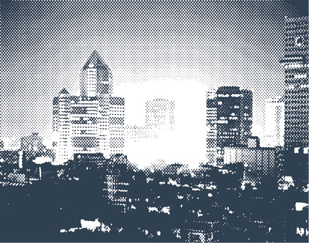 Vector halftone design of a city at night Illustration