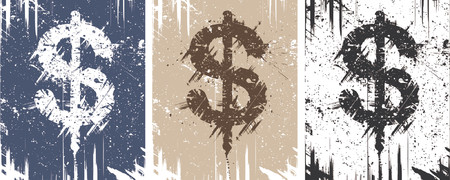 merged: Vector backgrounds of dollar sign with grunge on separate layer or merged Illustration