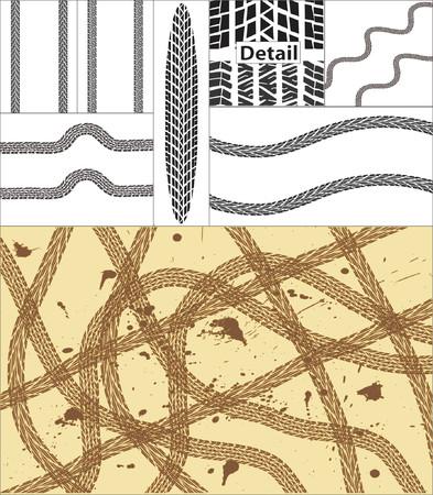 huellas de neumaticos: Vector de dise�o y los elementos de las pistas de neum�ticos