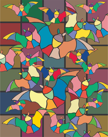 wingspan: Abstract vector design of bats flying in a church