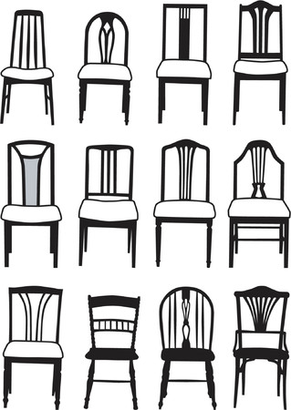 Selection of vector dining room chairs of different styles Vector